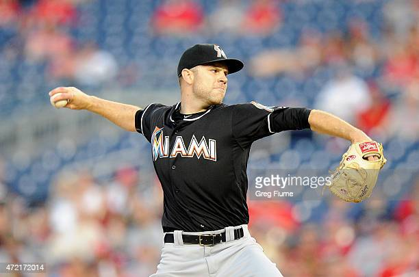 David Phelps of the Miami Marlins pitches in the second inning against the Washington Nationals at Nationals Park on May 4 2015 in Washington DC