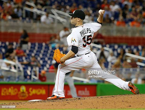 David Phelps of the Miami Marlins throws in the eighth inning against the Milwaukee Brewers at Marlins Park on May 11 2016 in Miami Florida