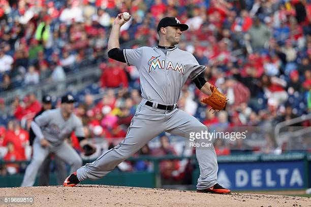 David Phelps of the Miami Marlins throws to a Washington Nationals batter in the third inning of the Nationals opening day game at Nationals Park on...