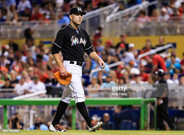 David Phelps of the Miami Marlins walks off the field during the game against the St Louis Cardinals at Marlins Park on July 30 2016 in Miami Florida