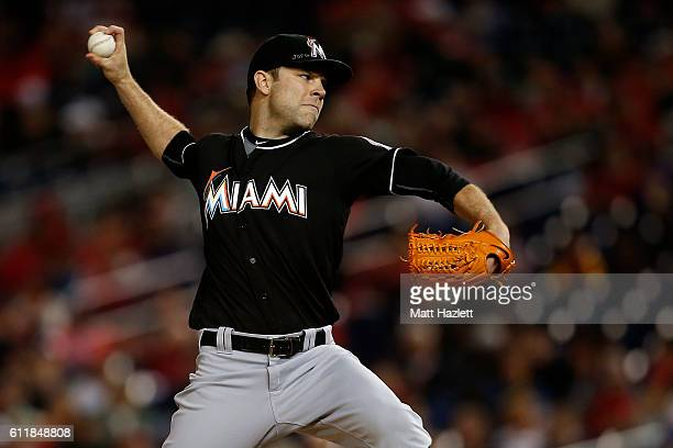 David Phelps of the Miami Marlins works in the eighth inning against the Washington Nationals at Nationals Park on October 1 2016 in Washington DC