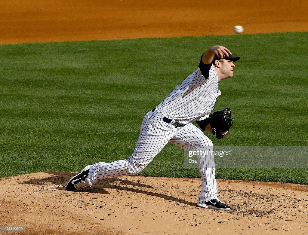 David Phelps #41 of the New York Yankees delivers a pitch against the Pittsburgh Pirates in the fourth inning on May 17, 2014 at Yankee Stadium in the Bronx borough of New York City.