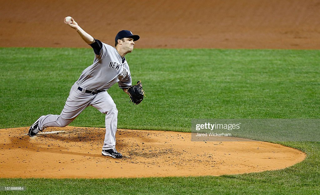 David Phelps #41 of the New York Yankees pitches against the Boston Red Sox during the game on September 12, 2012 at Fenway Park in Boston, Massachusetts.
