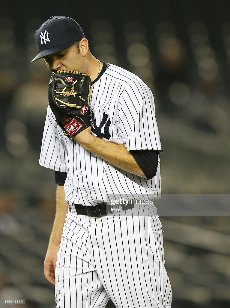 David Phelps #41 of the New York Yankees reacts after four runs were scored in the 12 inning against the Arizona Diamondbacks on April 18, 2013 at Yankee Stadium in the Bronx borough of New York City.The Arizona Diamondbacks defeated the New York Yankees 6-2 in 12 innings.