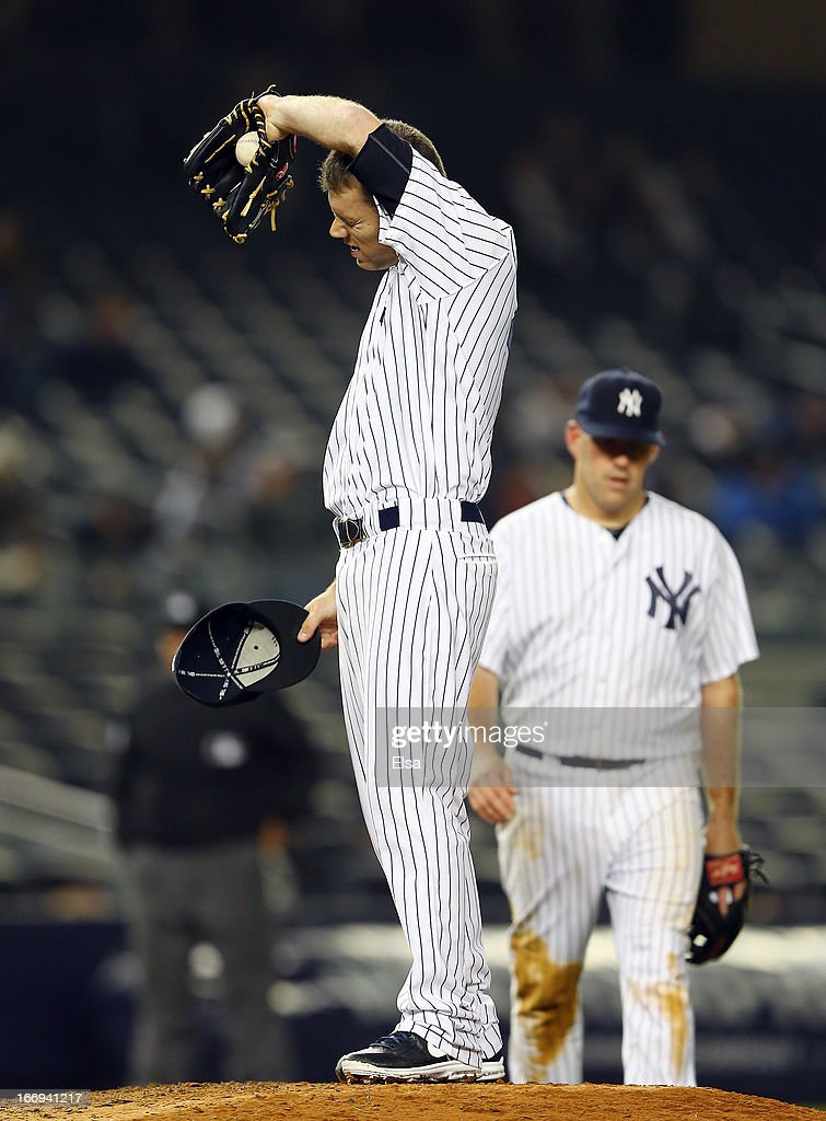 David Phelps #41 of the New York Yankees reacts in the 12 inning against the Arizona Diamondbacks on April 18, 2013 at Yankee Stadium in the Bronx borough of New York City.The Arizona Diamondbacks defeated the New York Yankees 6-2 in 12 innings.