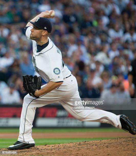David Phelps of the Seattle Mariners delivers against the New York Yankees at Safeco Field on July 22 2017 in Seattle Washington