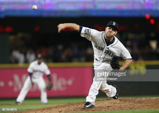 David Phelps of the Seattle Mariners strikes out Hanley Ramirez of the Boston Red Sox to win the game at Safeco Field on July 24 2017 in Seattle...