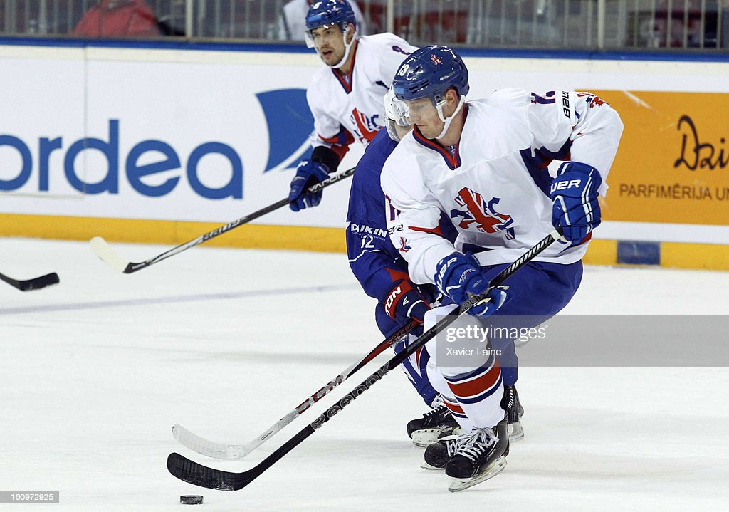 David Phillips of Great Britain in action during the Sochi 2014 Olympic Ice Hockey Qualification match between France and Great Britain at Riga Arena on February 8, 2013 in Riga, Latvia.