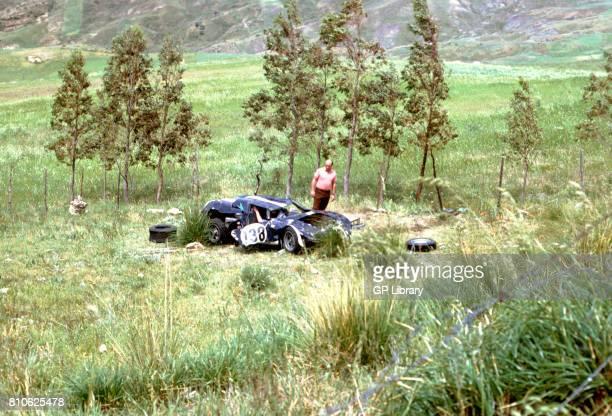 David Piper surveys wreckage of Ferrari 250LM at Targa Florio