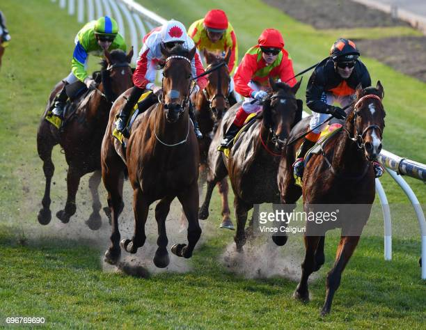 David Pires riding Lord Da Vinci wins Race 5 during Melbourne Racing at Moonee Valley Racecourse on June 17 2017 in Melbourne Australia