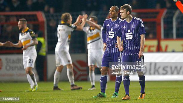 David Pisot and Christian Gross of Osnabrueck Fabian Holthaus Michael Hefele and Pascal Testroet of Dresden celebration the goal 03 during the third...