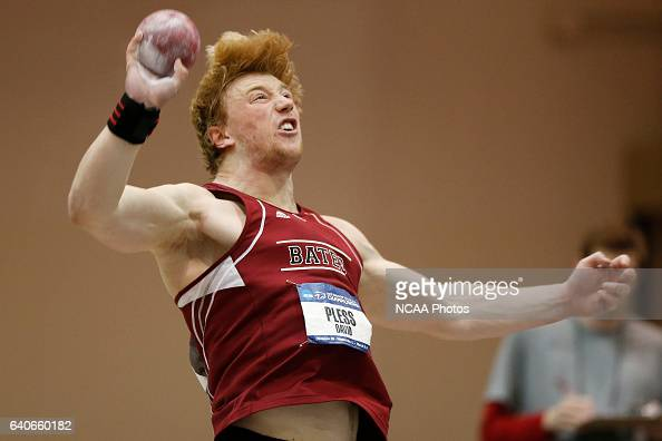 David Pless of Bates placed 1st in the Men's Shot Put at the Division III Men's and Women's Indoor Track and Field Championships held at the Al B...