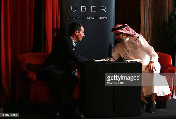 David Plouffe Uber SVP and Sultan Al Qassemi talk innovation in a fireside chat hosted by Uber together with Harvard Business School Club of the GCC...