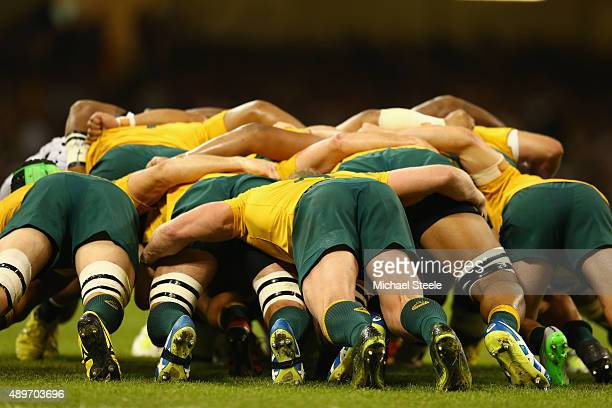 David Pocock of Australia pushes the scrum during the 2015 Rugby World Cup Pool A match between Australia and Fiji at Millennium Stadium on September...