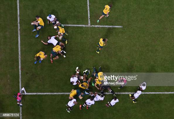 David Pocock of Australia scores his sides opening try during the 2015 Rugby World Cup Pool A match between Australia and Fiji at Millennium Stadium...