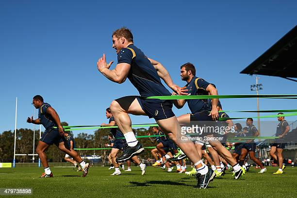 David Pocock of the Wallabies and team mates sprint during an Australian Wallabies training session at Sunshine Coast Stadium on July 7 2015 in...