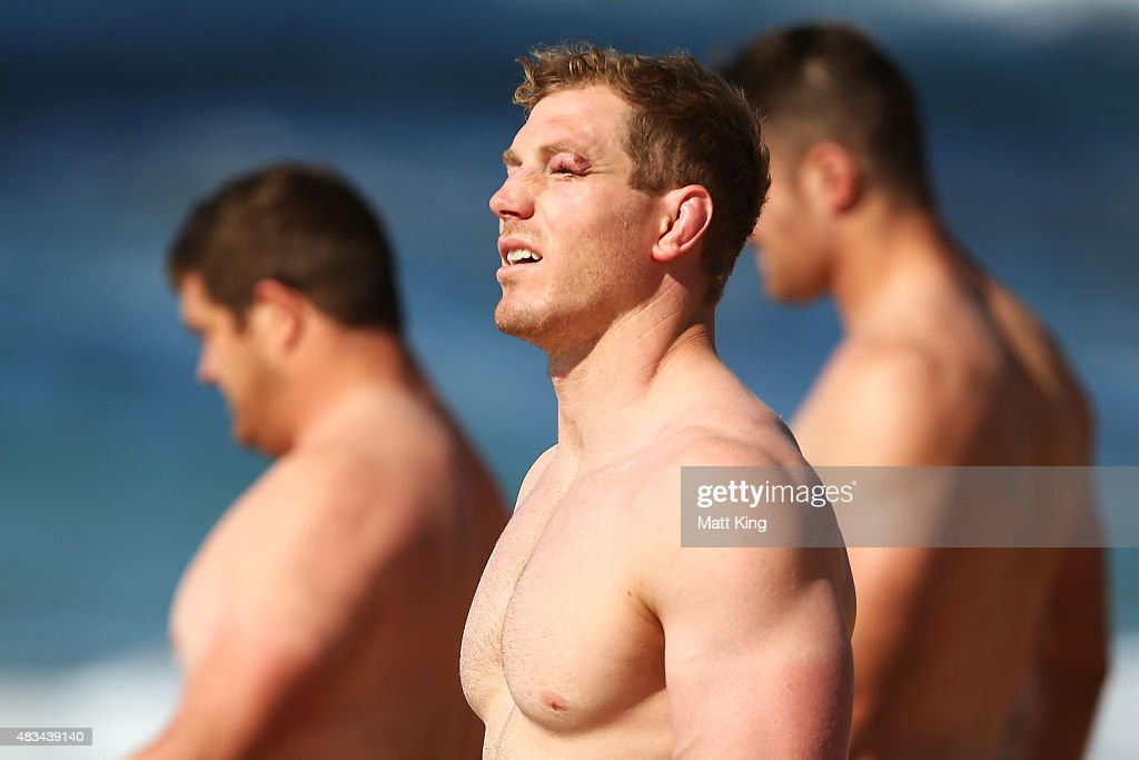 David Pocock of the Wallabies looks on during an Australia Wallabies recovery session at Coogee Beach on August 9, 2015 in Sydney, Australia.