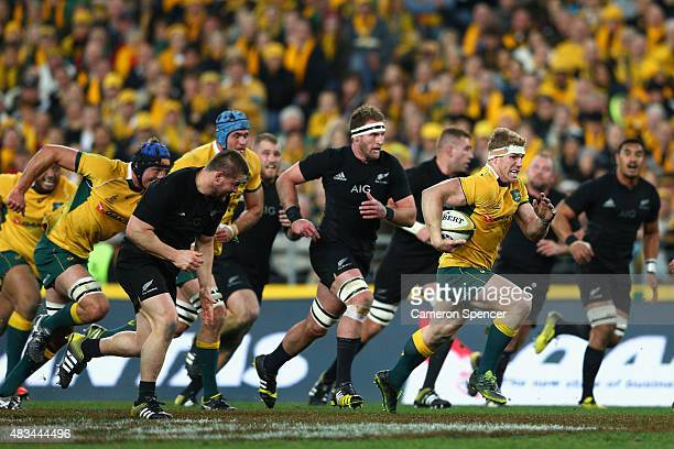 David Pocock of the Wallabies runs the ball during The Rugby Championship match between the Australia Wallabies and the New Zealand All Blacks at ANZ...