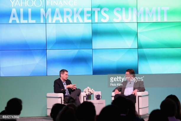 David Pogue and CEO Symantec Greg Clark speak on stage at the Yahoo Finance All Markets Summit on February 8 2017 in New York City