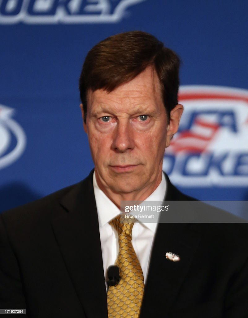 David Poile, general manager for the 2014 Men's Olympic Hockey Team is introduced at the Marriott Marquis Hotel on June 29, 2013 in New York City.