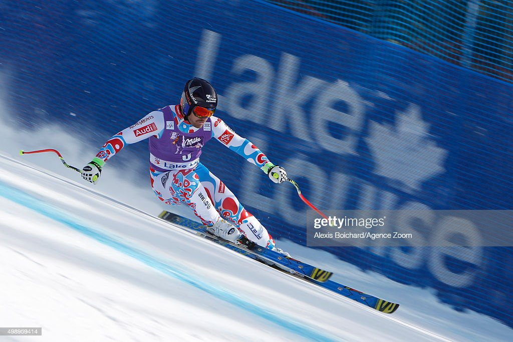 <a gi-track='captionPersonalityLinkClicked' href=/galleries/search?phrase=David+Poisson&family=editorial&specificpeople=2233661 ng-click='$event.stopPropagation()'>David Poisson</a> of France competes during the Audi FIS Alpine Ski World Cup Men's Downhill Training on November 27, 2015 in Lake Louise, Canada.