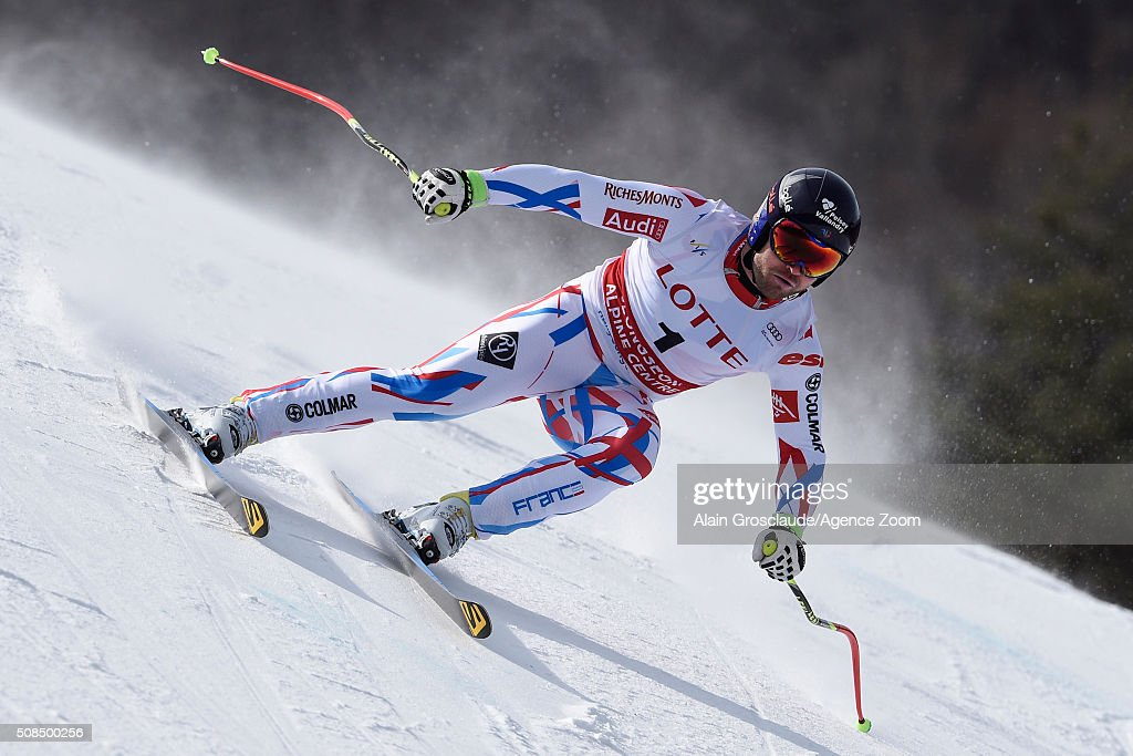 <a gi-track='captionPersonalityLinkClicked' href=/galleries/search?phrase=David+Poisson&family=editorial&specificpeople=2233661 ng-click='$event.stopPropagation()'>David Poisson</a> of France competes during the Audi FIS Alpine Ski World Cup Men's Downhill Training on February 05, 2016 in Jeongseon, South Korea.
