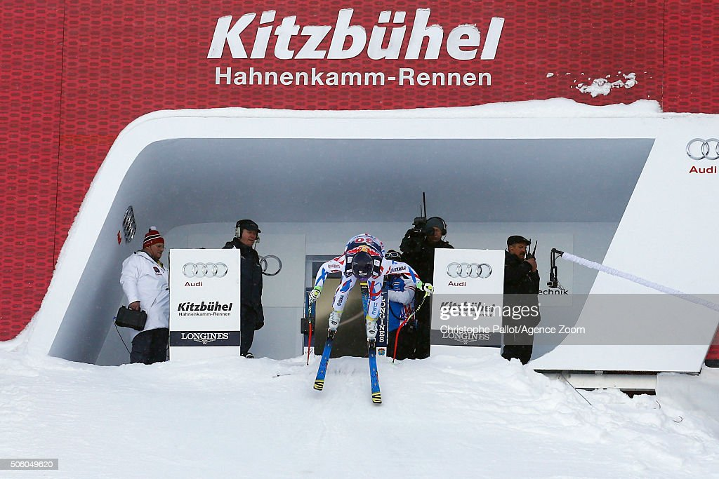 <a gi-track='captionPersonalityLinkClicked' href=/galleries/search?phrase=David+Poisson&family=editorial&specificpeople=2233661 ng-click='$event.stopPropagation()'>David Poisson</a> of France during the Audi FIS Alpine Ski World Cup Men's Downhill Training on January 21, 2016 in Kitzbuehel, Austria.