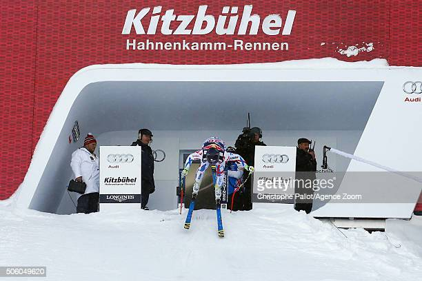 David Poisson of France during the Audi FIS Alpine Ski World Cup Men's Downhill Training on January 21 2016 in Kitzbuehel Austria