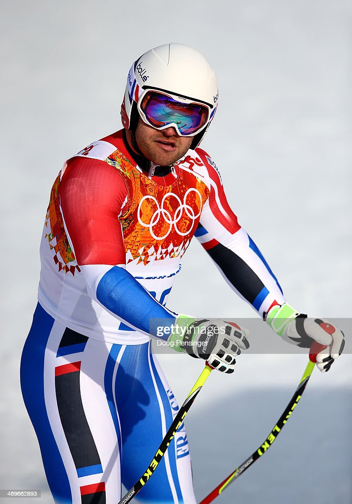 <a gi-track='captionPersonalityLinkClicked' href=/galleries/search?phrase=David+Poisson&family=editorial&specificpeople=2233661 ng-click='$event.stopPropagation()'>David Poisson</a> of France reacts after a run during the Alpine Skiing Men's Super-G on day 9 of the Sochi 2014 Winter Olympics at Rosa Khutor Alpine Center on February 16, 2014 in Sochi, Russia.