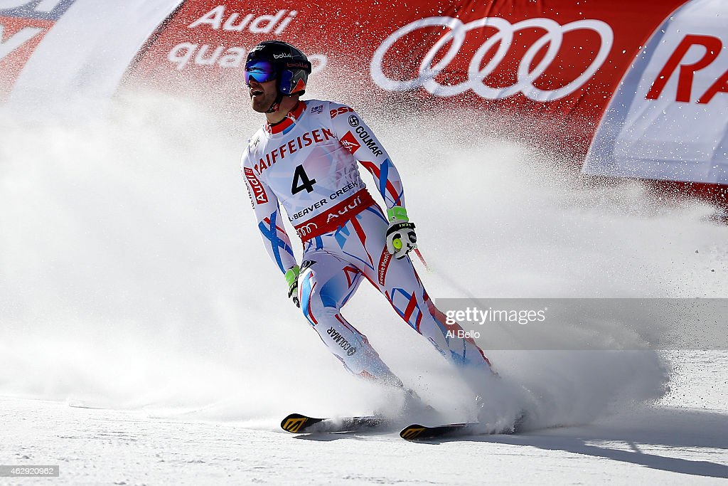 <a gi-track='captionPersonalityLinkClicked' href=/galleries/search?phrase=David+Poisson&family=editorial&specificpeople=2233661 ng-click='$event.stopPropagation()'>David Poisson</a> of France reacts after crossing the finish of the Men's Downhill in Red Tail Stadium on Day 6 of the 2015 FIS Alpine World Ski Championships on February 7, 2015 in Beaver Creek, Colorado.
