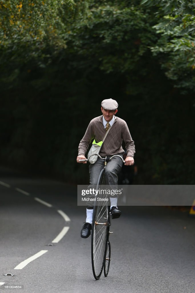 David Preece riding his penny farthing bike up towards the stage finish during stage six of the Tour of Britain from Sidmouth to Haytor on September 20, 2013 in Sidmouth, England.