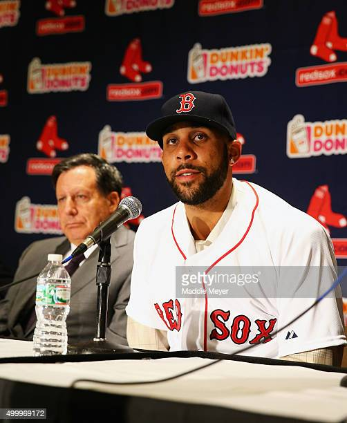 David Price answers questions from the media during his introductory press conference at Fenway Park on December 4 2015 in Boston Massachusetts