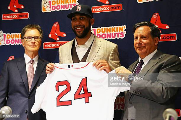 David Price is introduced by Red Sox owner John Henry left and Chairman Tom Werner during his introductory press conference at Fenway Park on...