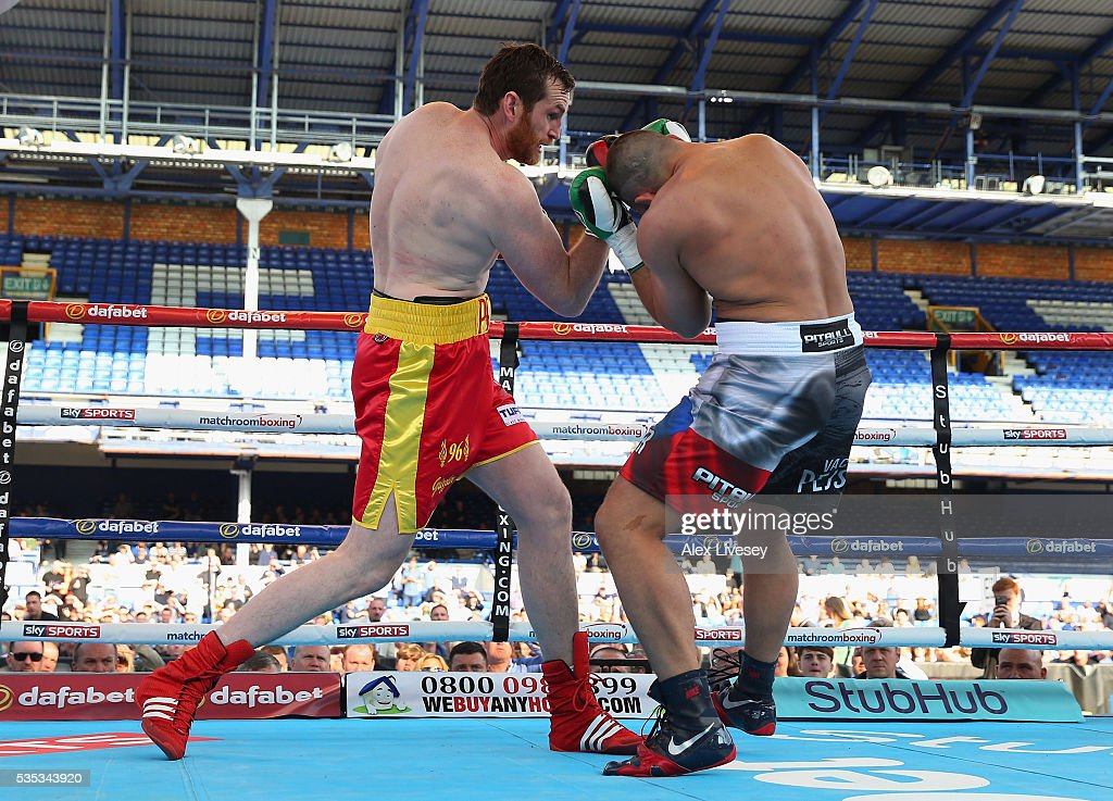 <a gi-track='captionPersonalityLinkClicked' href=/galleries/search?phrase=David+Price+-+Boxer&family=editorial&specificpeople=4349936 ng-click='$event.stopPropagation()'>David Price</a> lands a right shot on Vaclaj Pejsar during the Heavyweight Contest between <a gi-track='captionPersonalityLinkClicked' href=/galleries/search?phrase=David+Price+-+Boxer&family=editorial&specificpeople=4349936 ng-click='$event.stopPropagation()'>David Price</a> and Vaclaj Pejsar at Goodison Park on May 29, 2016 in Liverpool, England.
