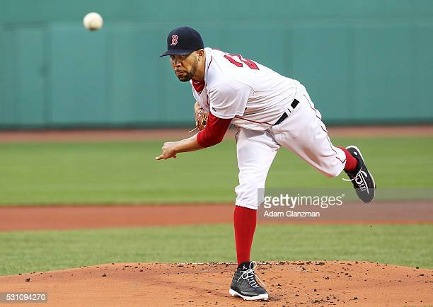 David Price of the Boston Red Sox delivers in the first inning during the game against the Houston Astros at Fenway Park on May 12 2016 in Boston...