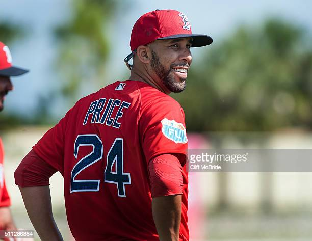 David Price of the Boston Red Sox looks on during a spring training workout at Fenway South on February 19 2016 in Ft Myers Florida