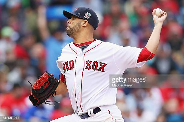 David Price of the Boston Red Sox pitches against the Toronto Blue Jays during the second inning at Fenway Park on October 2 2016 in Boston...