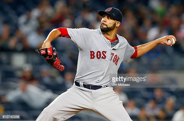 David Price of the Boston Red Sox pitches in the first inning against the New York Yankees at Yankee Stadium on September 27 2016 in the Bronx...