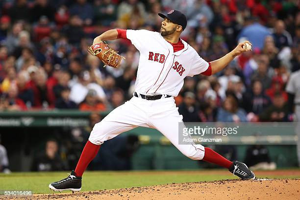 David Price of the Boston Red Sox pitches in the second inning during the game against the Colorado Rockies at Fenway Park on May 24 2016 in Boston...