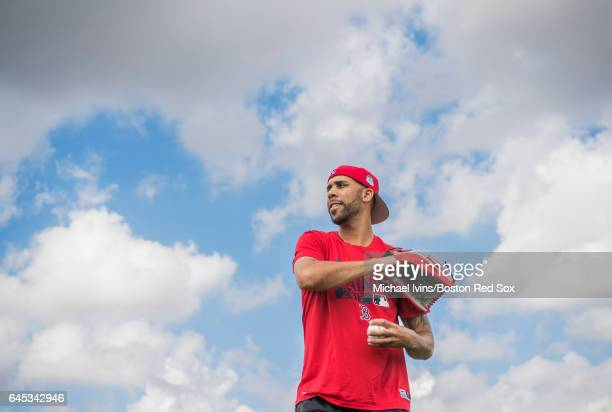 David Price of the Boston Red Sox plays catch with MakeAWish recipient Robert Alpert of Wareham Massachusetts before a spring training game against...