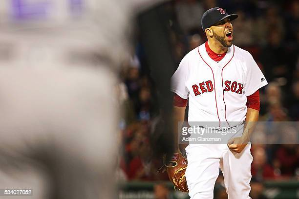 David Price of the Boston Red Sox reacts in the seventh inning after making the third out during the game against the Colorado Rockies at Fenway Park...