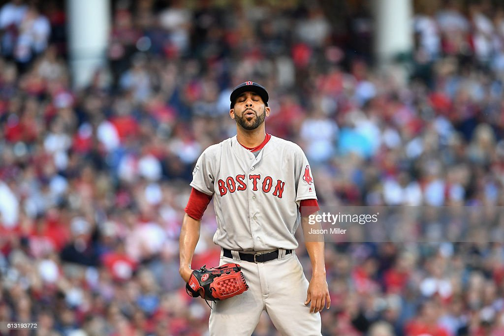 David Price of the Boston Red Sox reacts in the third inning against the Cleveland Indians during game two of the American League Divison Series at...