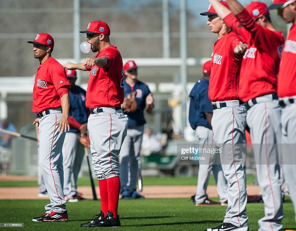 David Price of the Boston Red Sox runs stretches while blowing a bubble at a spring training workout at Fenway South on February 19 2016 in Ft Myers...