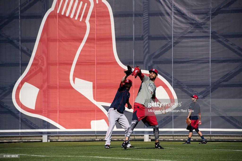 David Price of the Boston Red Sox warms up during a Spring Training workout on February 17, 2016 at Fenway South in Fort Myers, Florida .