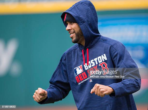 David Price of the Boston Red Sox warms up in preparation for an Opening Day matchup against the Cleveland Indians on April 3 2016 at Progressive...