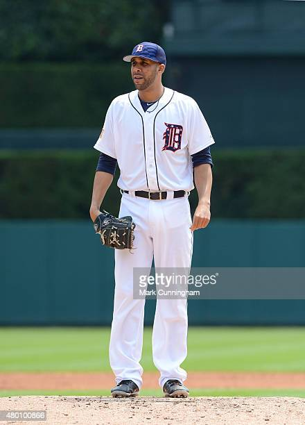 David Price of the Detroit Tigers looks on while wearing a special jersey and hat to honor Independence Day during the game against the Toronto Blue...
