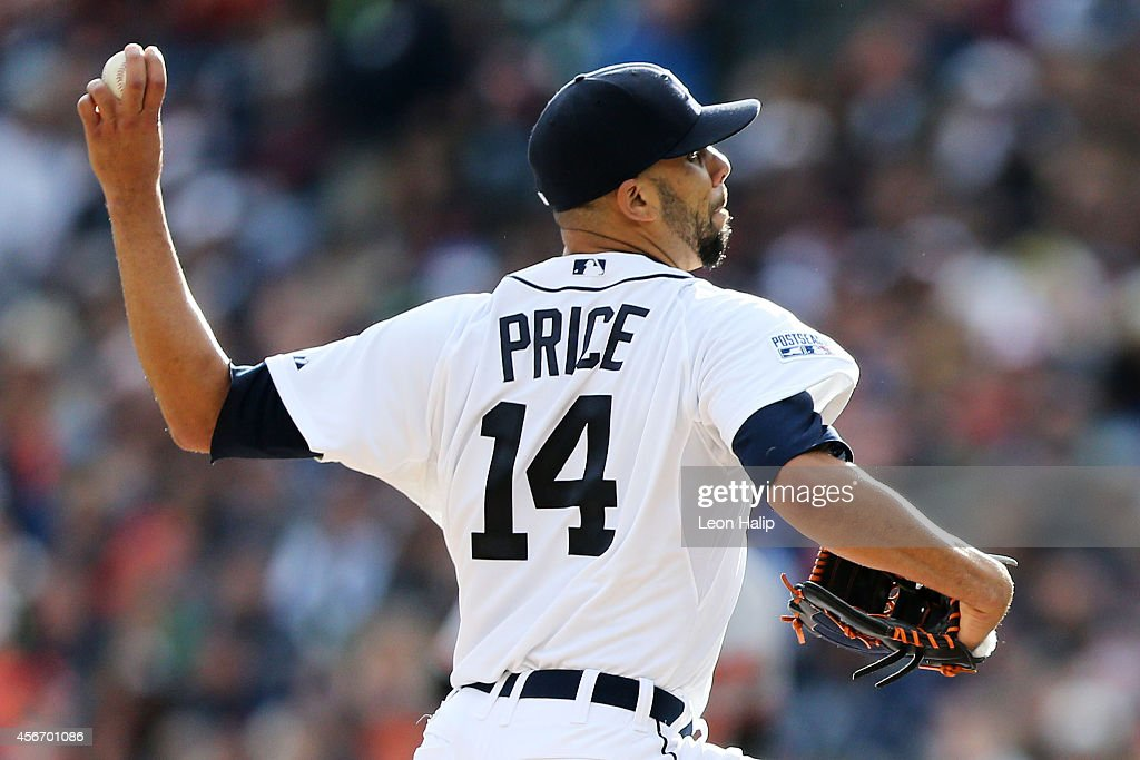 <a gi-track='captionPersonalityLinkClicked' href=/galleries/search?phrase=David+Price+-+Baseball+Player&family=editorial&specificpeople=4961936 ng-click='$event.stopPropagation()'>David Price</a> #14 of the Detroit Tigers pitches against the Baltimore Orioles during Game Three of the American League Division Series at Comerica Park on October 5, 2014 in Detroit, Michigan.