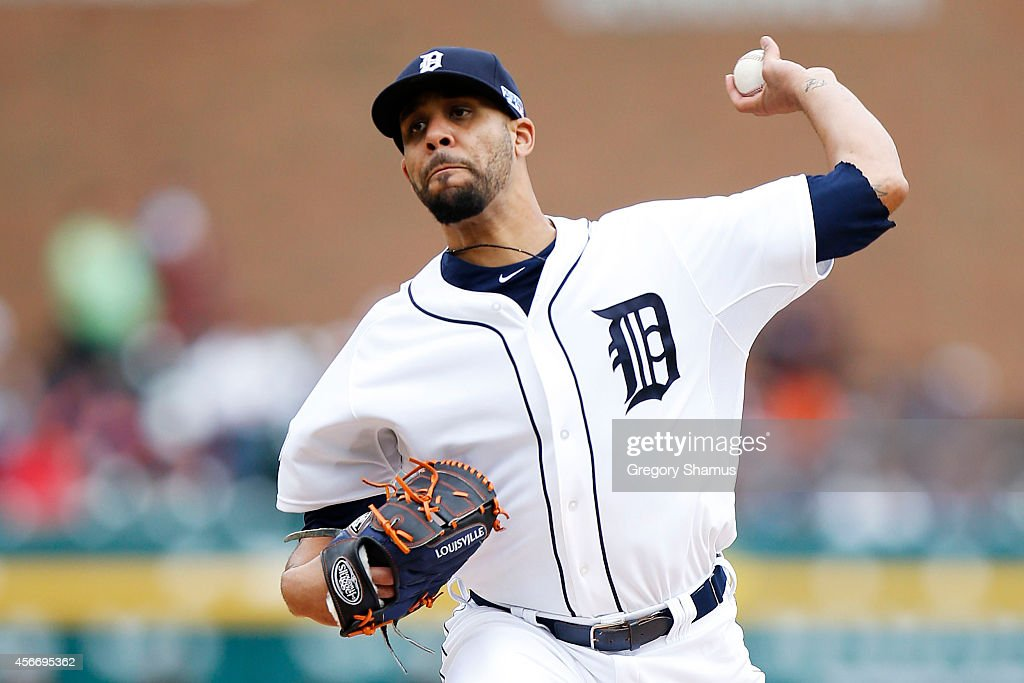 <a gi-track='captionPersonalityLinkClicked' href=/galleries/search?phrase=David+Price+-+Baseball+Player&family=editorial&specificpeople=4961936 ng-click='$event.stopPropagation()'>David Price</a> #14 of the Detroit Tigers pitches in the first inning against the Baltimore Orioles during Game Three of the American League Division Series at Comerica Park on October 5, 2014 in Detroit, Michigan.