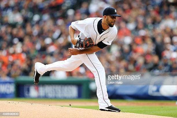 David Price of the Detroit Tigers pitches in the first inning against the Baltimore Orioles during Game Three of the American League Division Series...