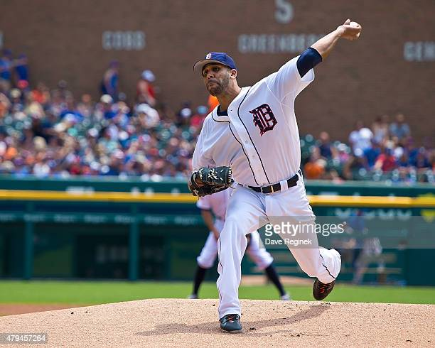 David Price of the Detroit Tigers pitches in the first inning during a MLB game against the Toronto Blue Jays at Comerica Park on July 4 2015 in...